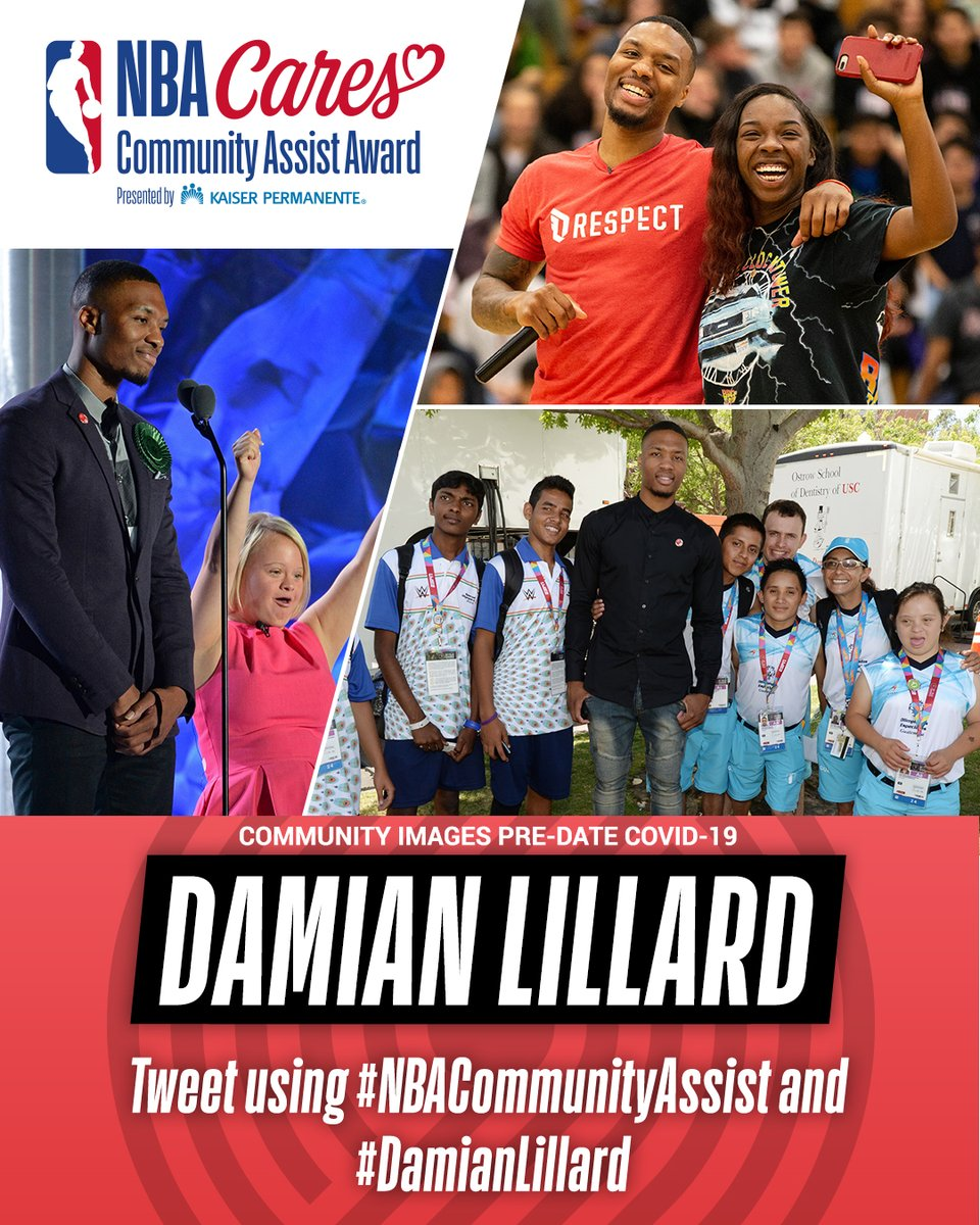 .@Dame_Lillard of the @trailblazers has been nominated for the Seasonlong NBA Cares Community Assist Award pres. by @kpthrive!   To vote for Damian, retweet this post, or post with #NBACommunityAssist + #DamianLillard https://t.co/FkNGMIlDSR