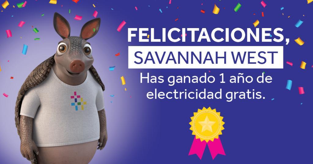¡Tenemos el placer de anunciar que Savannah West es la 1ª de 2 residentes de Texas en ganar 1 año de electricidad gratis en el sorteo Reliant Smart Energy! ¡Inscríbete en el sorteo antes del 11 de junio y aprovecha la oportunidad! https://t.co/qzoX7DpUOP https://t.co/8uIsQFg6Dw