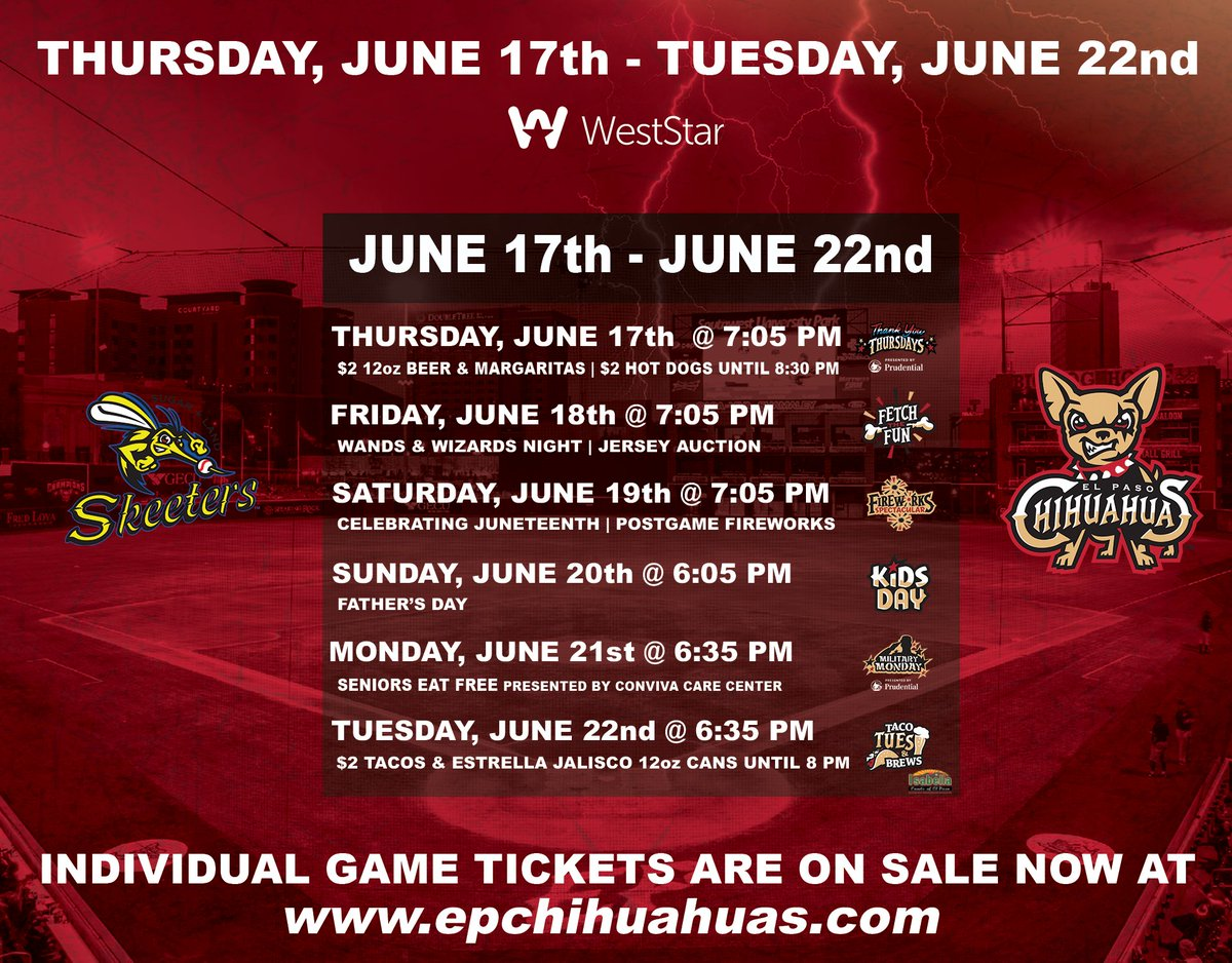 We're back home A WEEK from today!!  June 17th: Teacher Appreciation & Thrifty Thursday June 18th: Wands & Wizards Night June 19th: Juneteenth Celebration w/Fireworks June 20th: Father's Day June 21st: Military Monday June 22nd: Taco Tuesday  Tickets: https://t.co/m0hdxgH0T4 https://t.co/fBCZw16CzA
