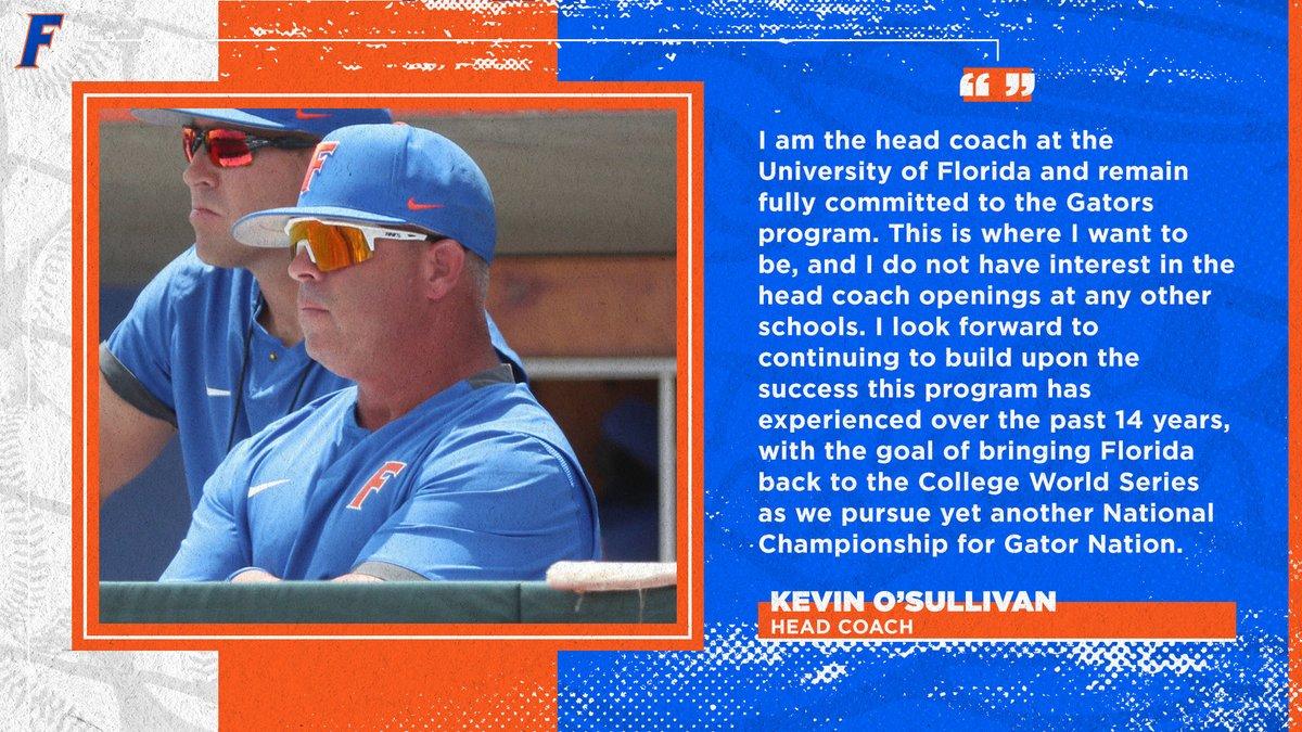 Statement from head coach Kevin O'Sullivan.  #GoGators https://t.co/DUNiMNrbKa