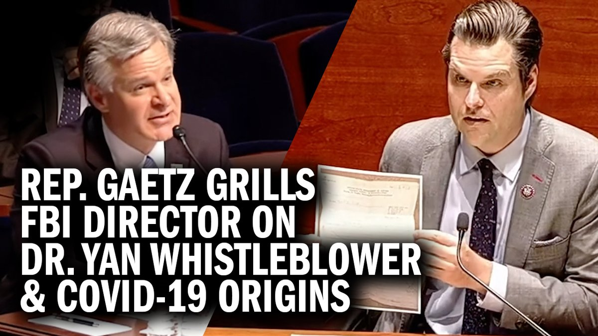 """BREAKING: Congressman Matt Gaetz goes head-to-head with FBI Director Christopher Wray on the FBI's awareness of the COVID-19 origins.  """"There has been a cover-up regarding the origins of coronavirus."""" https://t.co/SWLfaGgC2T"""
