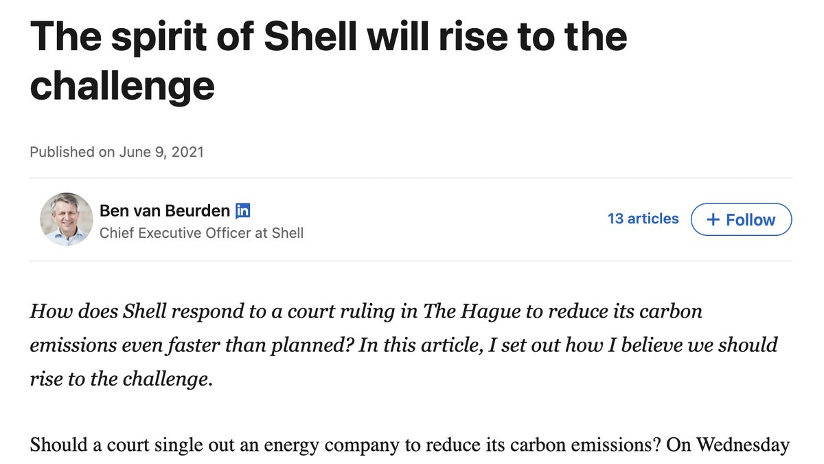 RT @Gizmodo: Shell's CEO Pens LinkedIn Blog Blaming You for Climate Change