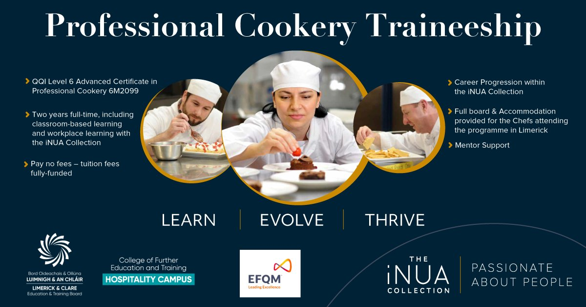 We are recruiting Chefs to join our Professional Cookery Traineeship in association with @LimClareETB    This is a unique opportunity to #EarnWhileYouLearn  To learn more contact Stefan Matz on stefan@inuahospitality.ie  #iNUACollection #PassionateAboutPeople https://t.co/TlDfaaeatz