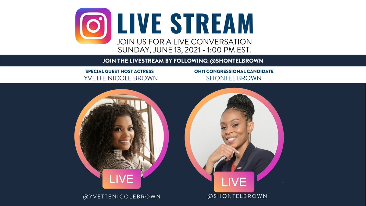 Guess who I get to talk to this weekend. The extraordinary, talented & OH11's very own @YNB. We'll be LIVE on my Instagram Sun. Jun 13th at 1PM EST. We are talking about EVERYTHING! Most importantly my plans to serve this great community. JOIN THE JOURNEY #shontelbrownforcongress https://t.co/MlblEL7A0b