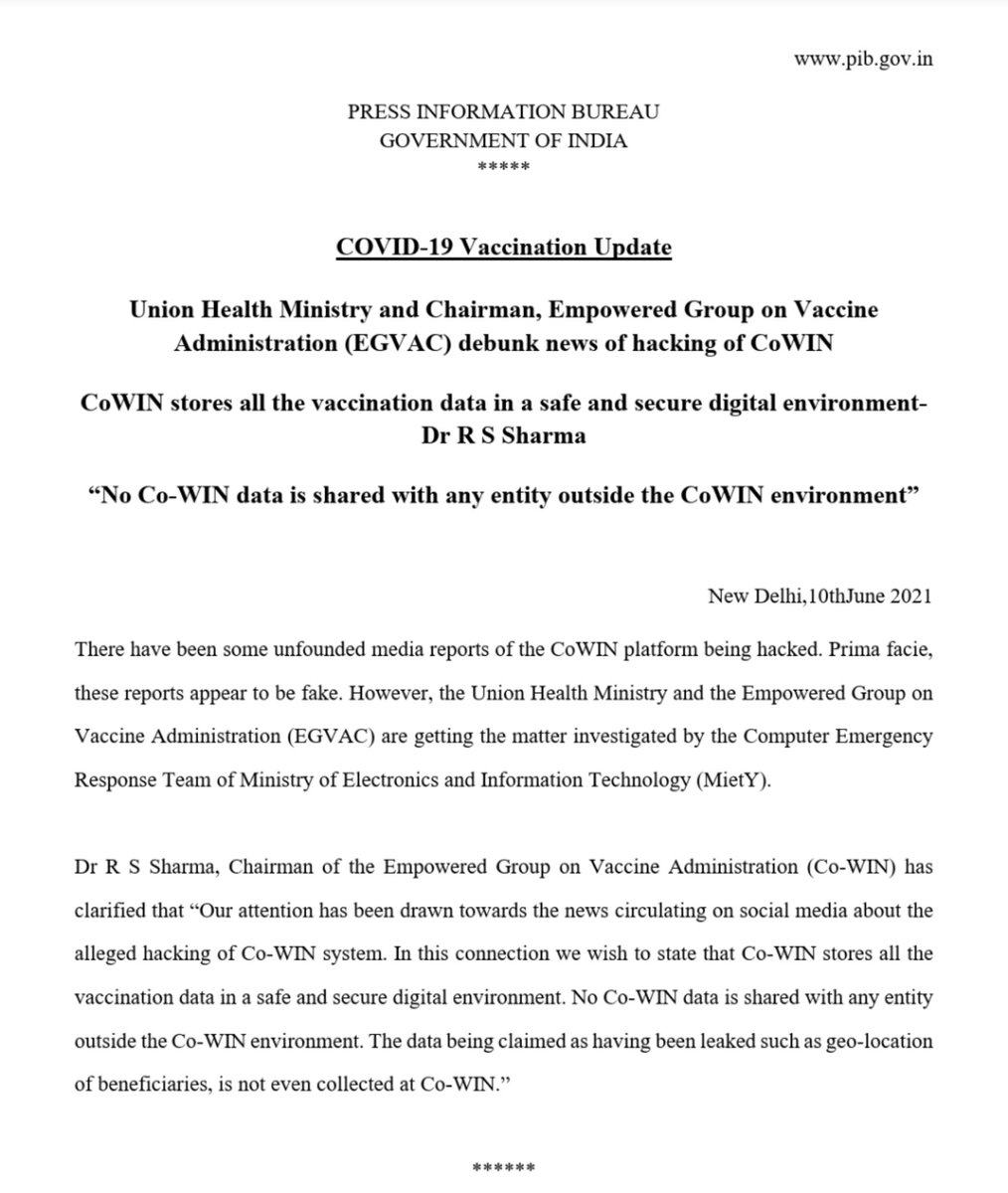 #LargestVaccinationDrive   Union Health Ministry & Chairman, Empowered Group on Vaccine Administration debunk news of hacking of #CoWIN.  CoWIN stores all vaccination data in a safe & secure digital environment- Dr @rssharma3  @PMOIndia  @drharshvardhan @AshwiniKChoubey https://t.co/5yeREnM3HO