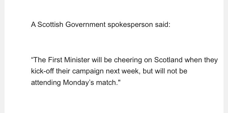 Nicola Sturgeon will be cheering on Scotland on Monday, but like most of us, she won't be at Hampden https://t.co/v2dQMF2YN9