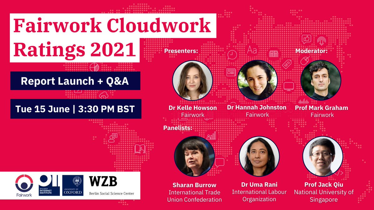 💻 Millions across the globe work on #freelance or #crowdsourcing platforms like Amazon #MTurk, #Upwork or #Fiverr  But how fair are the working conditions of these #invisible workers?  Find out next Tuesday in the launch of our new report!  Register now https://t.co/F2uqTxATGg https://t.co/yfX7Ji9wgM