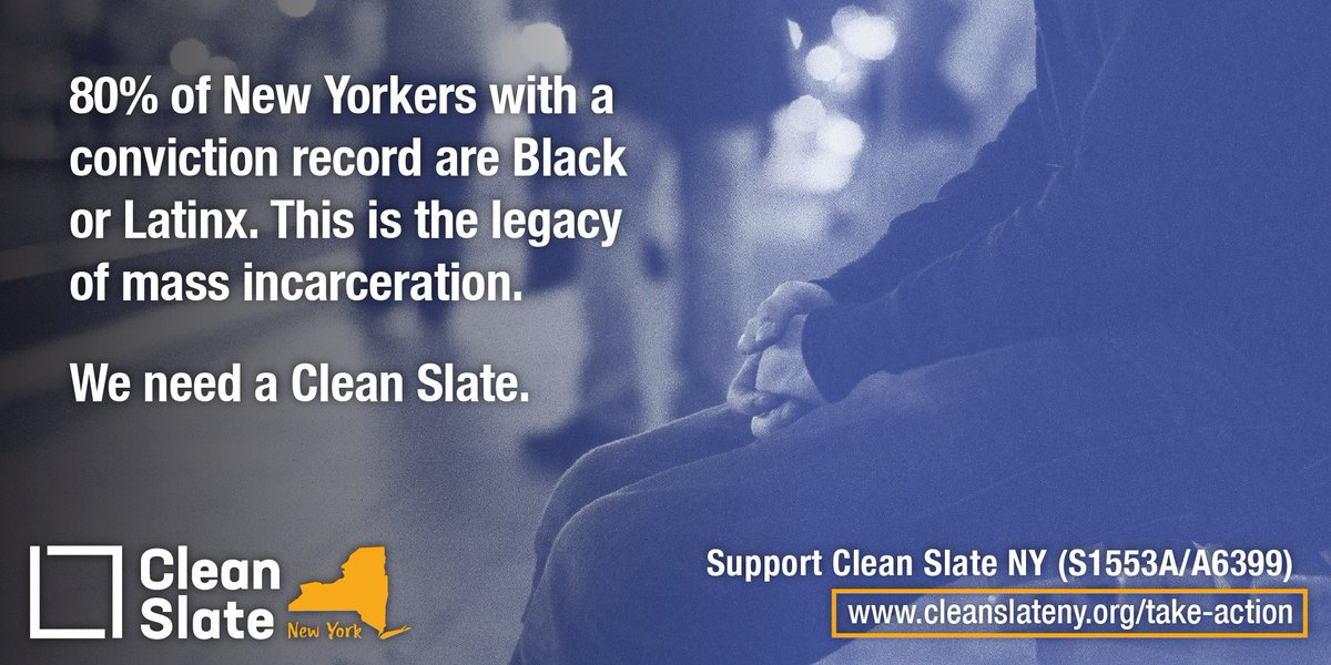 We are calling on @AndreaSCousins, @CarlHeastie, & @NYGovCuomo to pass & sign #CleanSlateNY now. 2.3 million New Yorkers have a conviction record and face barriers to jobs, housing, and education. It's time to end perpetual punishment and address the legacy of mass incarceration. https://t.co/SxzcD3w09v
