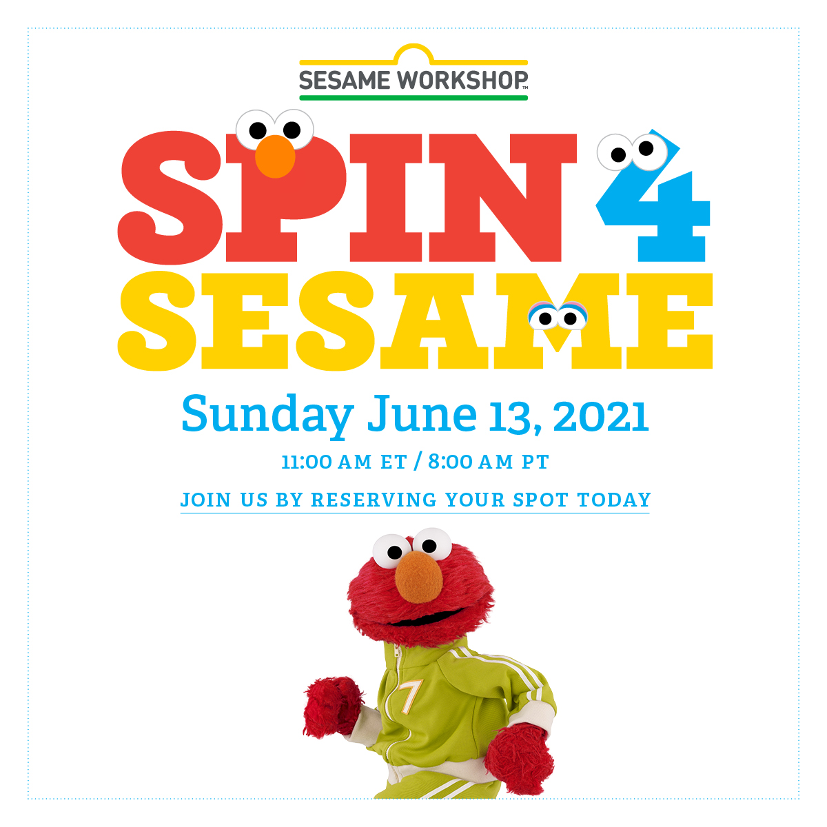 On June 13th, join Spin4Sesame, a fundraiser supporting our mission to help children everywhere grow smarter, stronger, and kinder. Participate by using the Peloton Bike and App. For ride details and to reserve your spot visit: https://t.co/lFcjCCKWgS @onepeloton https://t.co/NIBPA9R6R6