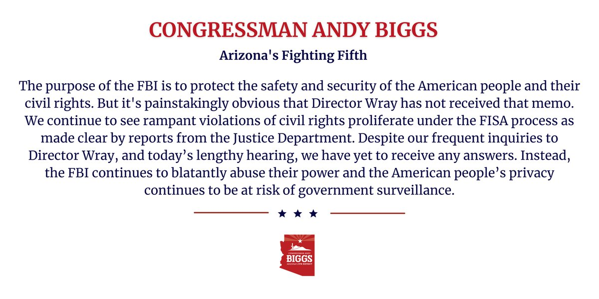 My official statement on today's Director Wray hearing: https://t.co/B7iKYS8usg