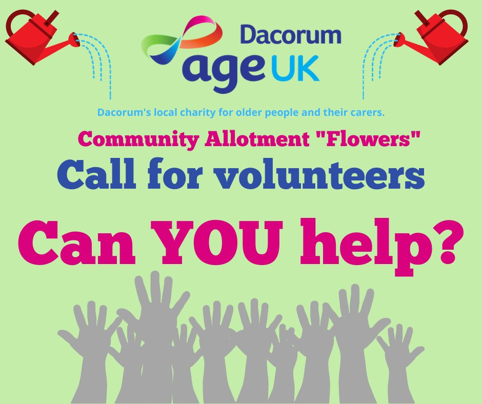 Gardening – VOLUNTEERS NEEDED! We need #volunteers to help with the upkeep of our community allotment at @sunnysideruraltrust in Northchurch, HP41NJ If you're interested, please call 01442 259049 or email editorial@ageukdacorum.org.uk  #Thank you for your #support. #volunteer https://t.co/5Xcge2Xfyt