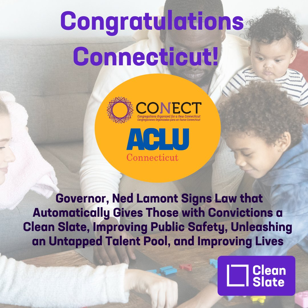 Connecticut just became the fourth state to enact clean slate legislation which will give those with convictions a chance to get on with their life and remove a life sentence of discrimination against them. https://t.co/vAqRwkbNCK https://t.co/dkTYujaWUm