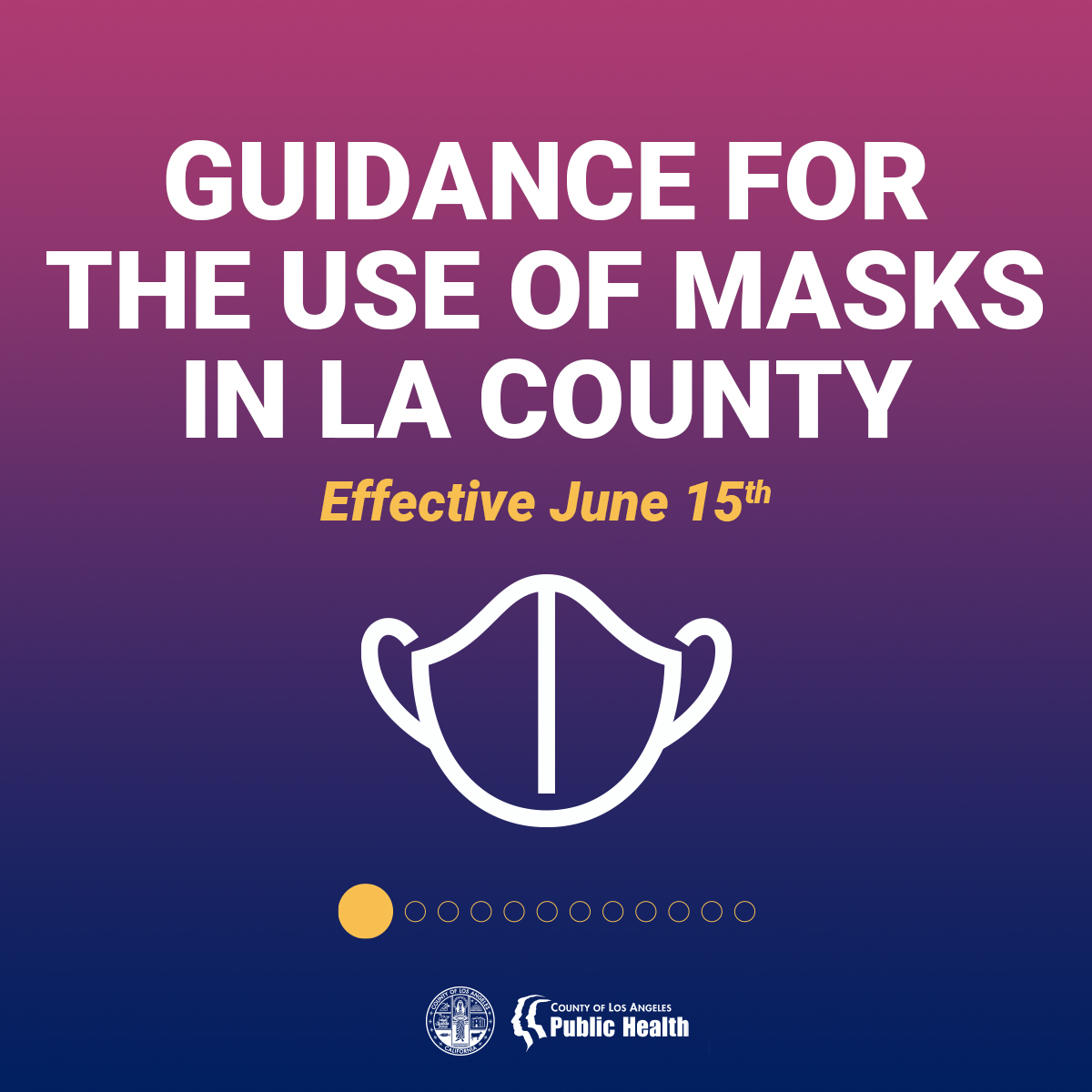 Effective June 15, LA County is aligning with the State's masking guidance. Learn more by visiting https://t.co/cDbQTNKDAj https://t.co/xIliBmY1Ht