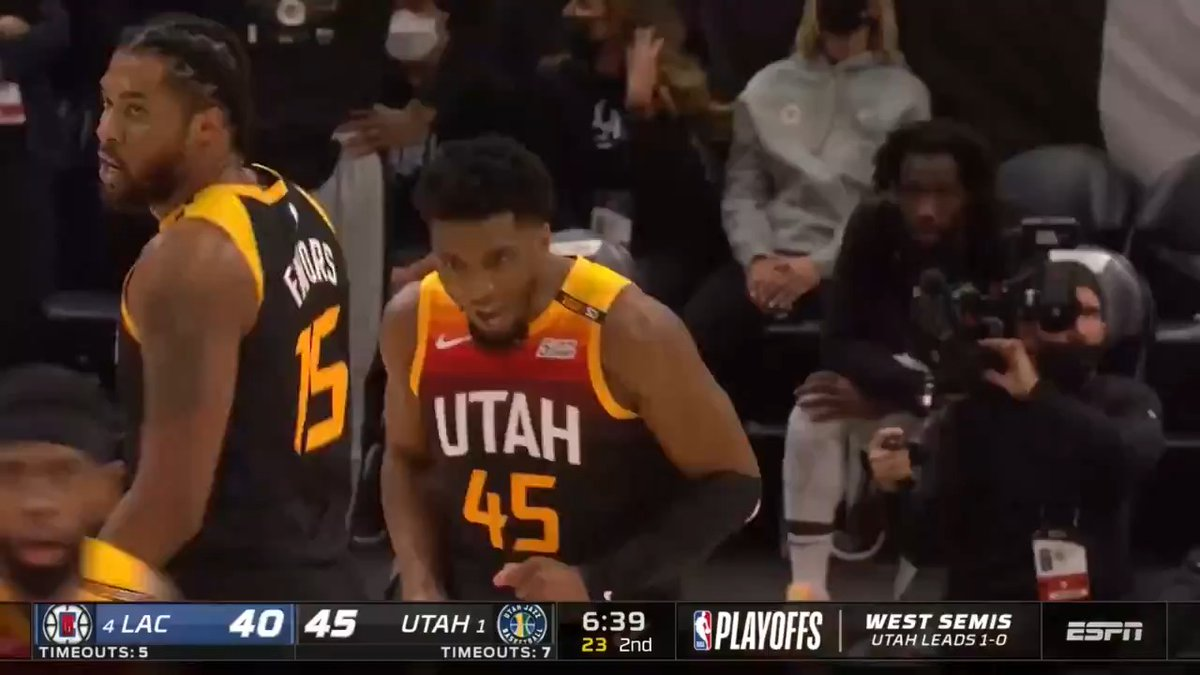 👏 @spidadmitchell follows up his 45-point Game 1 with a 37-point encore in Game 2, putting the @utahjazz up 2-0! #ThatsGame   Game 3 - Sat, 8:30 PM ET, ABC https://t.co/aXBNjht5K8