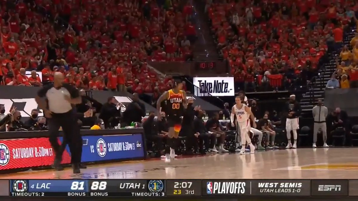Jordan Clarkson's efficient 24 points off the bench spark the @utahjazz! #ThatsGame   🔌 9-15 FGM 🔌 6-9 3PM  Game 3 - Saturday, 8:30pm/et on ABC https://t.co/bKWAL6u95S