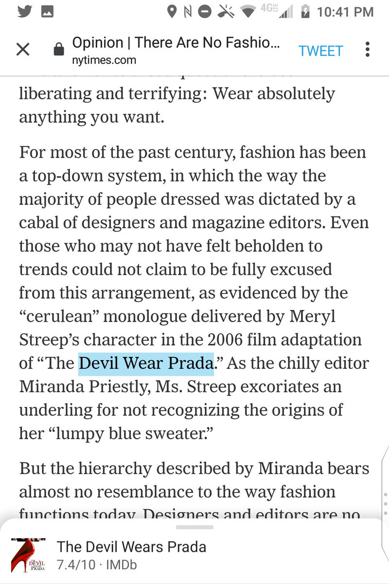 """@nytimes @isabelslone There can't be a worse-edited section of a major paper in the world than Times Opinion.  Today they publish an op-ed that discusses a movie called """"The Devil Wear Prada.""""  Even if you don't check titles of things, did the verb-noun-agreement problem not jump out at you people? https://t.co/xCECwWiJTP"""