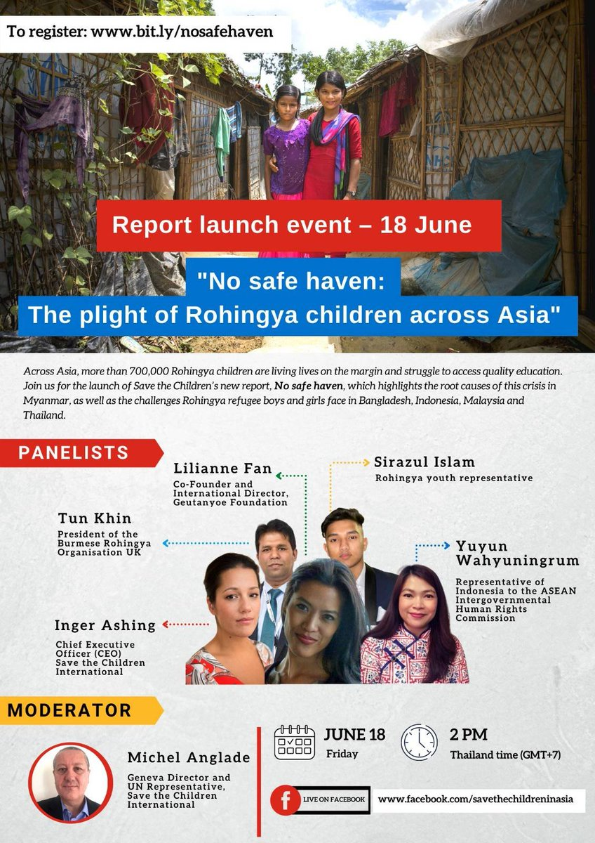 """📅Mark your calendar  @SavetheChildren is launching a new report: """"No safe heaven: The plight of #Rohingya children across Asia"""" on June 18 at 2pm BKK time. Panelists include @Wahyuningrum @LilianneFan @tunkhin80 @ingerashing. Register 👉 https://t.co/w7oR1Oz1jx https://t.co/1S4sGGyfqx"""