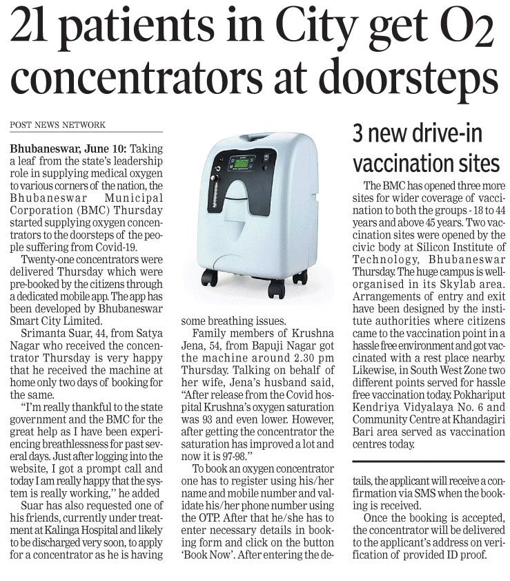 Taking forward #Odisha Govt's efforts to ensure seamless availability of medical oxygen, @bmcbbsr is supplying oxygen concentrators at the doorsteps of #COVID19 patients under home isolation. Needy citizens can avail this service through online booking. #OdishaCares https://t.co/9ST4Xqzu1Y