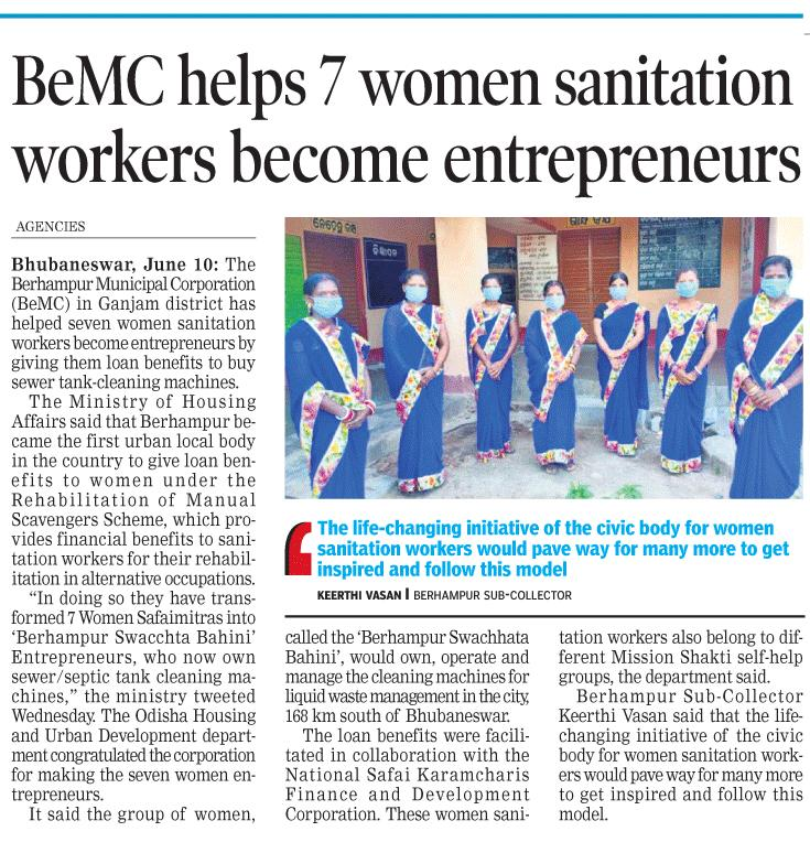 In yet another step towards women empowerment, @BrahmapurCorp has helped seven women sanitation workers become entrepreneurs by giving them loan benefits to buy sewer tank-cleaning machines. This has ensured social dignity and financial empowerment of these women. #OdishaCares https://t.co/6dLh0v2fQS