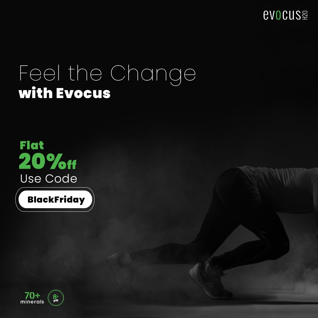 """Get flat 20% #off on your entire purchase. Use Code """"""""BlackFriday"""""""" to order now. #Offer valid till 26th June 11:59 PM""""  Buy Now- https://t.co/1iR842JlQU  #DrinkEvocus #DrinkBlack #Blackwater #dehydration #immunitybooster #hydration #stayhydrated #heartburn #acidity #immunity https://t.co/E37eH8oCF1"""