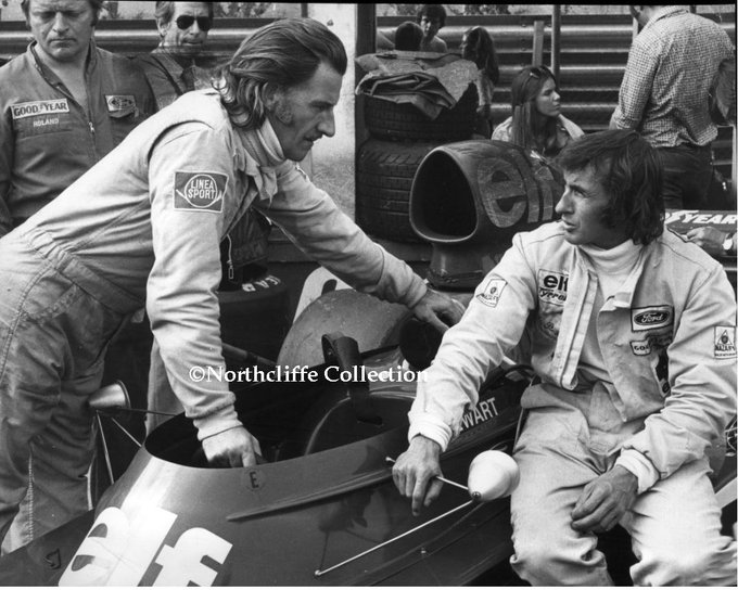Happy 82nd Birthday to Sir Jackie Stewart: 3 time World Champion.   Shown here with Graham Hill in 1973