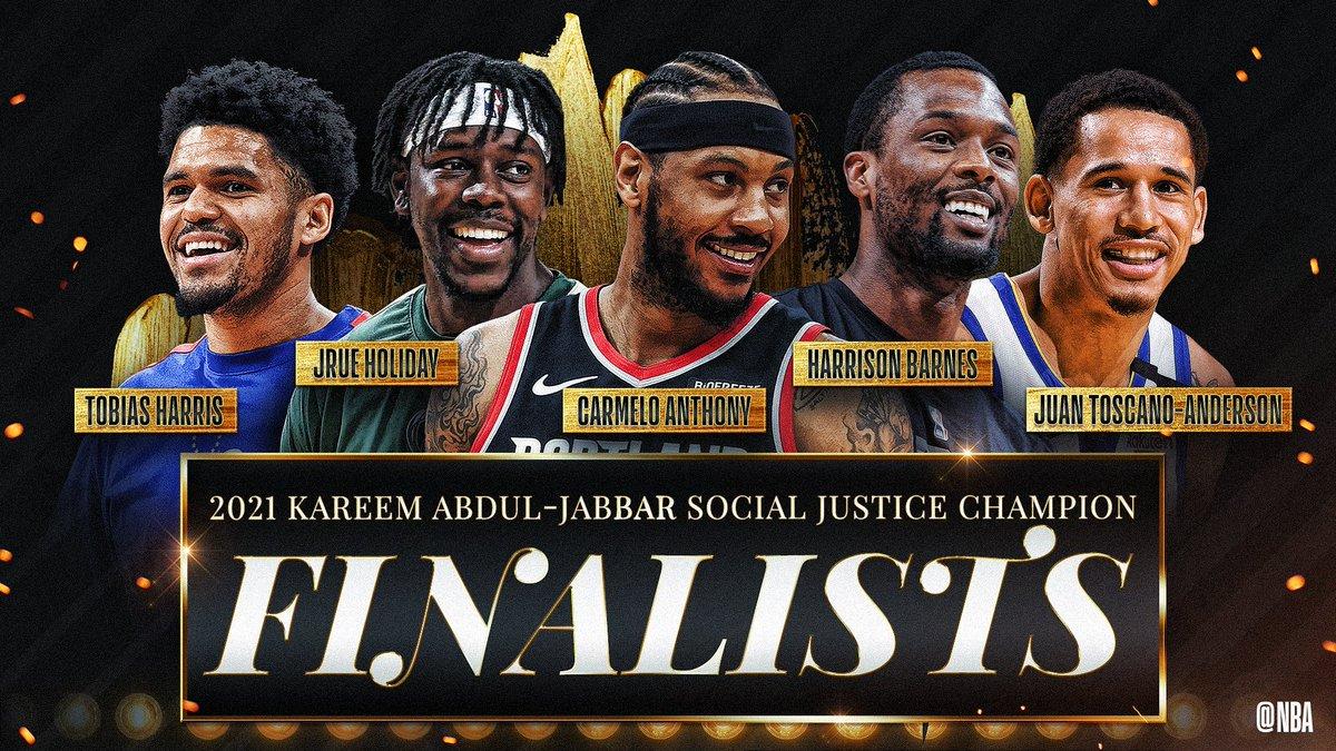 Carmelo Anthony (@carmeloanthony), Harrison Barnes (@hbarnes), Tobias Harris (@tobias31), Jrue Holiday (@Jrue_Holiday11) and Juan Toscano-Anderson (@juanonjuan10) have been selected as the five finalists for the inaugural Kareem Abdul-Jabbar #SocialJusticeChampion Award. https://t.co/XbXDBlS4v6