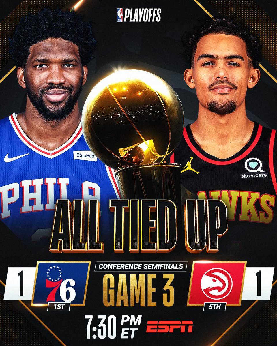 76ERS 🆚 HAWKS  ALL TIED UP, the @sixers and @ATLHawks each seek a 2-1 series lead in Game 3! #NBAPlayoffs   Don't miss it tonight at 7:30pm/et on ESPN https://t.co/heMTIJV607