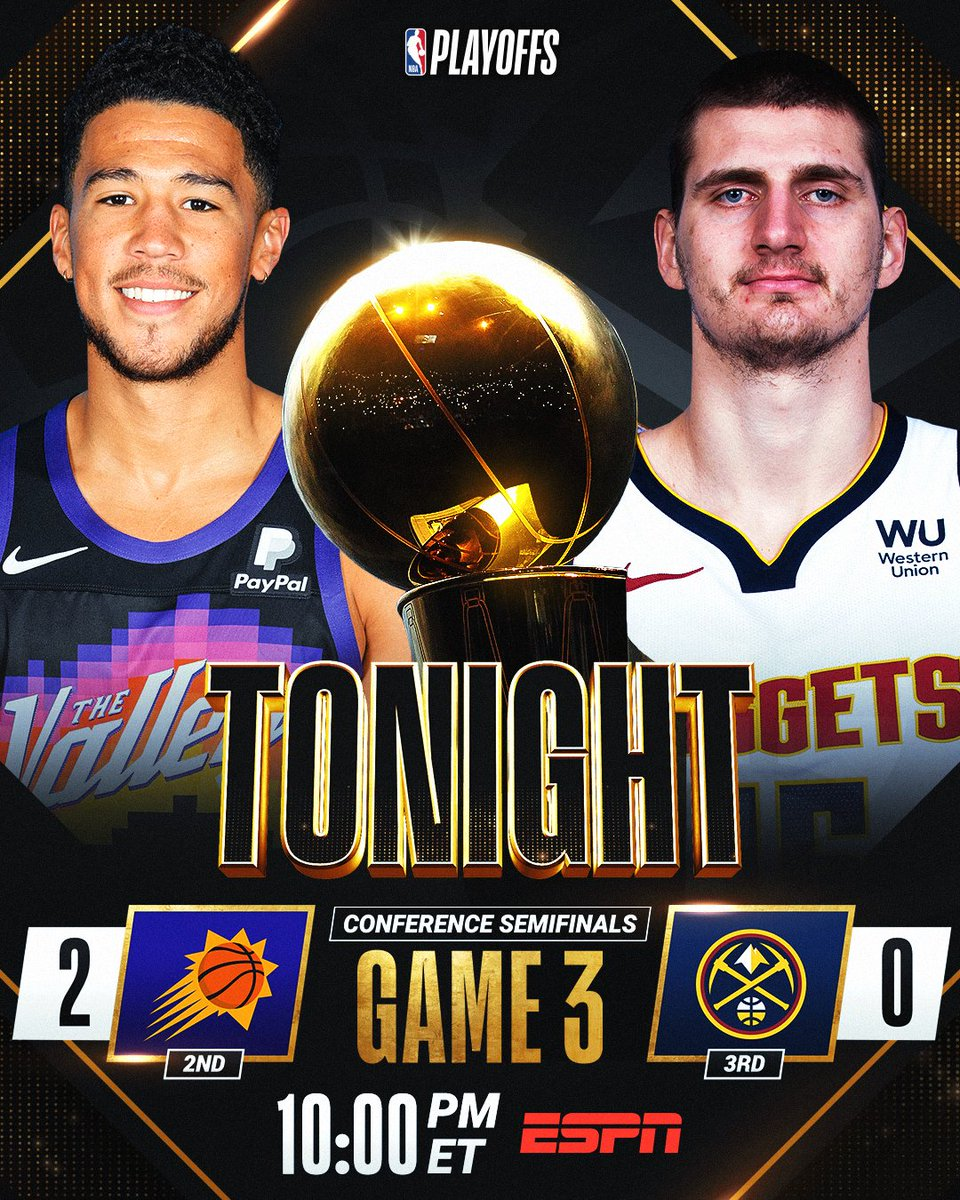 SUNS 🆚 NUGGETS  Will the @Suns go up 3-0 or will the @nuggets get on the board? #NBAPlayoffs   Game 3 TONIGHT at 10pm/et on ESPN https://t.co/af7TY6uL2q