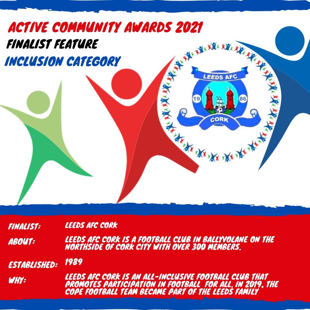 📣 Active Community Awards 2021- Finalist Friday📣  💫 Active Community Inclusion 💫   ⚽️ Leeds AFC Cork 💥  Best of luck 🙌  Excited for the Active Community Awards Virtual Ceremony on June 18th 🎊  #ActiveCorkAwards21| #KeepCorkActive|#CorkSportsAbility https://t.co/ugBo0JTvXB