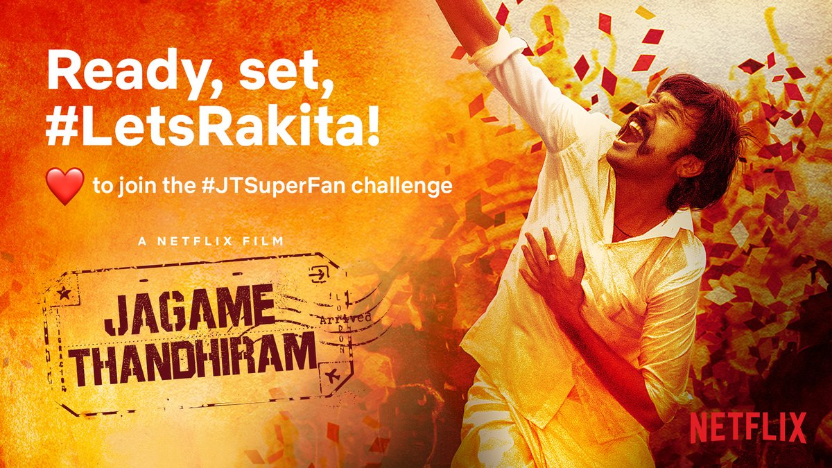 Are you ready to Rakita? Here's your chance to prove you're a #JTSuperFan and be one of the lucky 300 people to win an invite to our launch event on 17th June 2021 at 4pm.  ❤️ this tweet and we'll send you a reminder for when it's time to thakida thakida? 🕺💃 #JagameThandhiram https://t.co/pNMlg2yodw