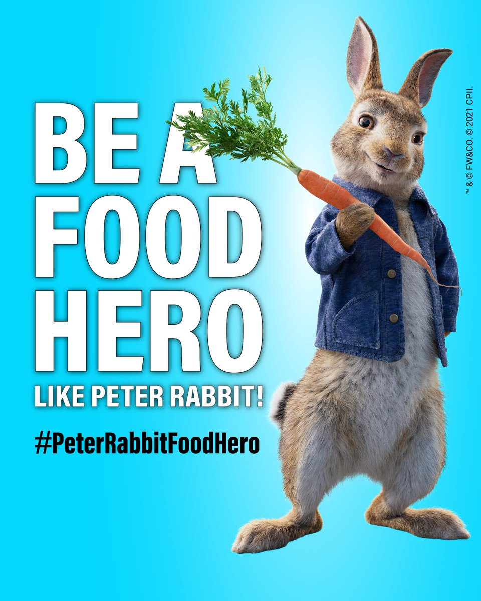 Peter Rabbit is supporting the @UN & @FAO by being a food hero! He is doing his part to take care of our only planet!  Join him and become a food hero too 👉 https://t.co/lNf9TrITyW   #PeterRabbitFoodHero #FoodHeroes https://t.co/FpGLi7eCTh