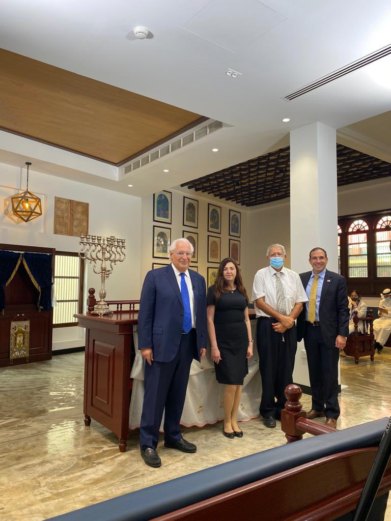 At the beautiful Bahrain Synagogue in central Manama. The only synagogue of which I am aware that has the Ten Commandments in Arabic. Thank you Ambassador Nonoo for a wonderful tour! https://t.co/hzDU54BcFL