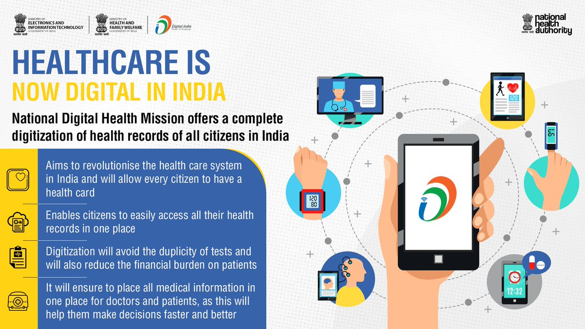 National Digital Health Mission (#NDHM) will enable every Indian citizen to have a health card and completely digitize health records of all citizens. This will revolutionize the healthcare system in India in many ways. Visit https://t.co/xMy1VkOyLi to know more about the scheme. https://t.co/E4t42FFrzh
