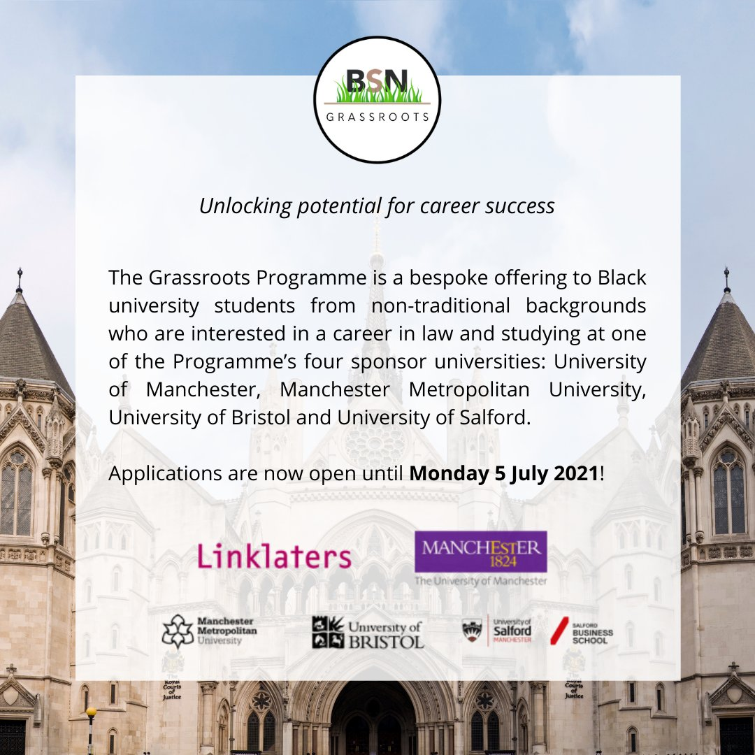 BSN Grassroots - Unlocking potential for career success  We're pleased to announce the launch of the BSN Grassroots Programme in partnership with @LinklatersLLP, @OfficialUoM (Headline Sponsors), @mmu_law, @BristolUniLaw and @SalfordUni.   Read more: https://t.co/OvwQDXpsNO https://t.co/ANQt40fqLp
