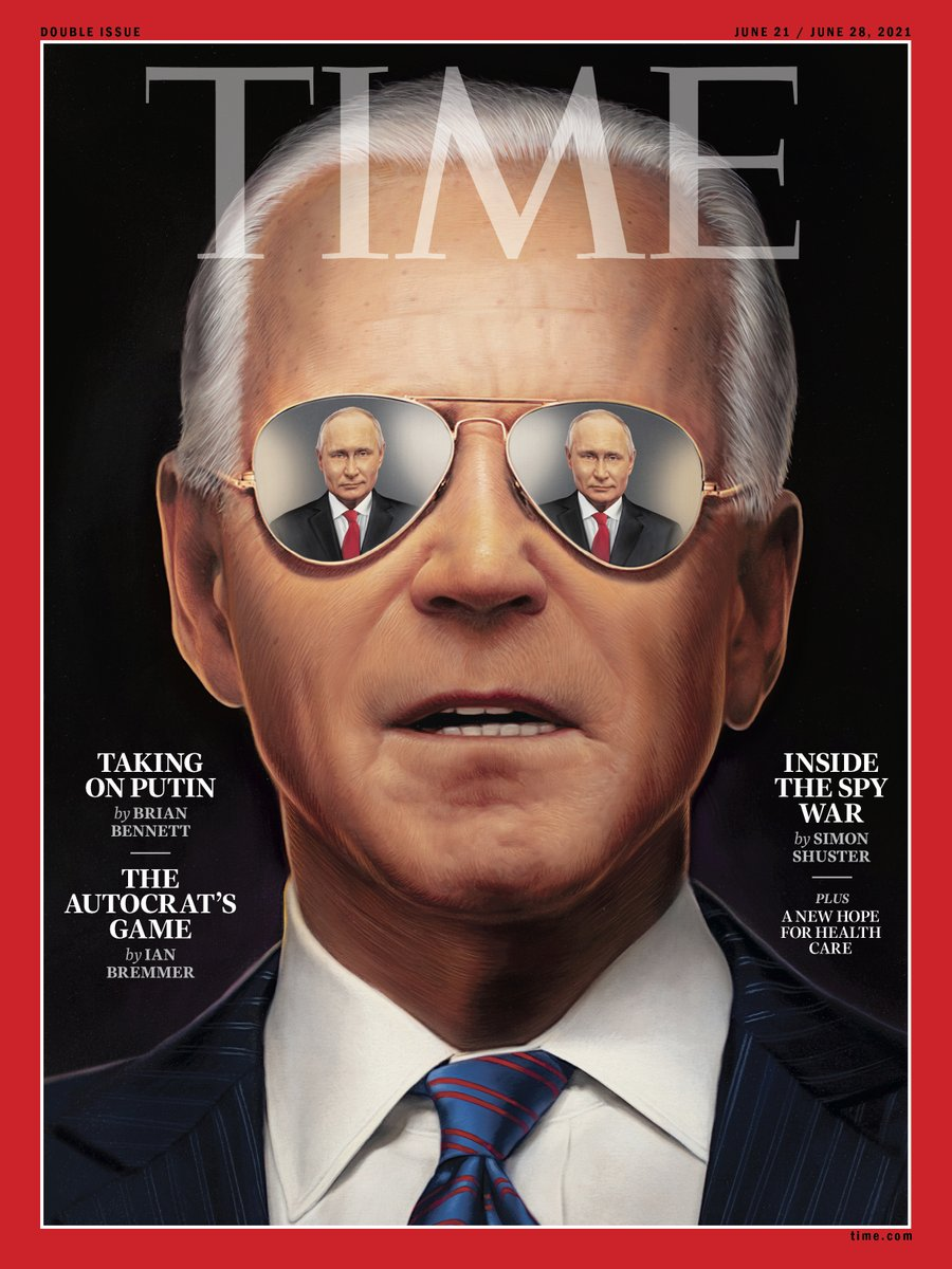 """Longtime @TIME cover artist Tim O'Brien @TonkaOBrien painted our cover ahead of next week's Biden/Putin meeting. It is Tim's second cover of Biden this year - the first (""""Day One"""" on Feb. 1) received a Silver Award from ADC this week. Read the cover story https://t.co/ASLwAvwbp6 https://t.co/t912S2toY7"""
