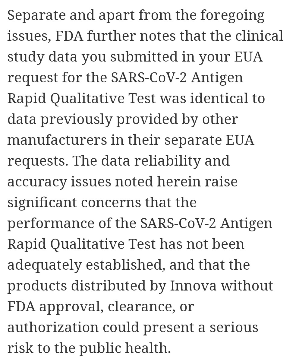 This, in FDA's letter to Innova (from whom we bought £3bn of tests for reasons no one can explain) is extraordinary stuff.  If they had their own data, why were they apparently copying other peoples'? If they didn't have their own data, how (and why!) did we spend £3bn with them? https://t.co/FH5EBXzGaY