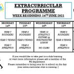 Image for the Tweet beginning: Next weeks extracurricular activities! Please