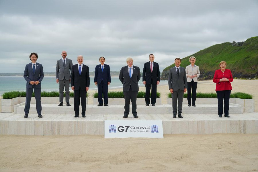 Vorbildliches Politisches diplomatisches G7 Treffen, Mit gesunden abstand.