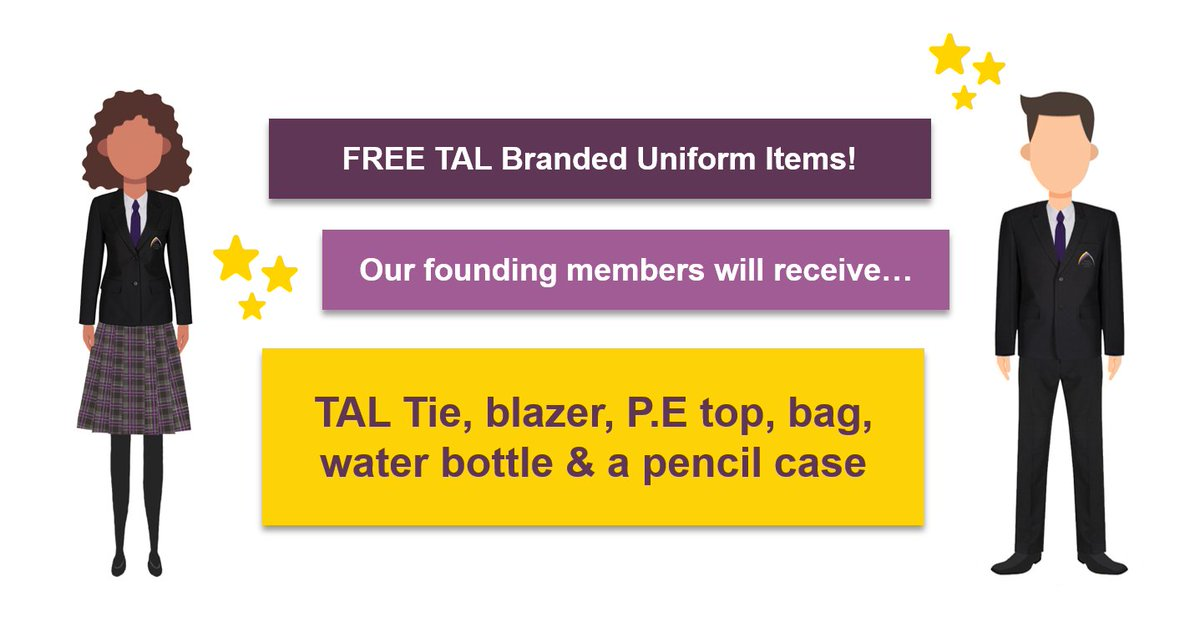 We are delighted to announce that we'll be providing our #foundingmembers with #TAL branded #uniform items for free ⭐️ This includes our blazer, tie, skirt, P.E top & more 💜 After a difficult year, we are pleased we can make things a little easier for our fantastic families ✨