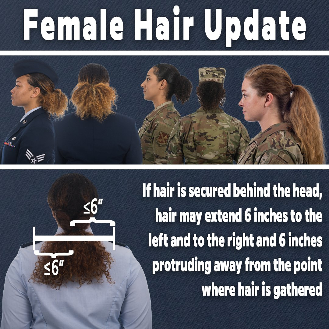 Building on women's hair updates announced in February 2021, beginning June 25 when hair is secured behind the head, the hair may extend six inches to the left and to the right and six inches protruding from the point where the hair is gathered.  More at  https://t.co/IOlbeK7lFQ https://t.co/VGwHhCkGfS