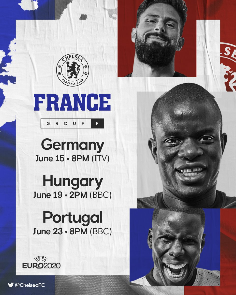 RT @ChelseaFC: Group F comes next. 👀  #Euro2020 https://t.co/LQn1S3UB9f