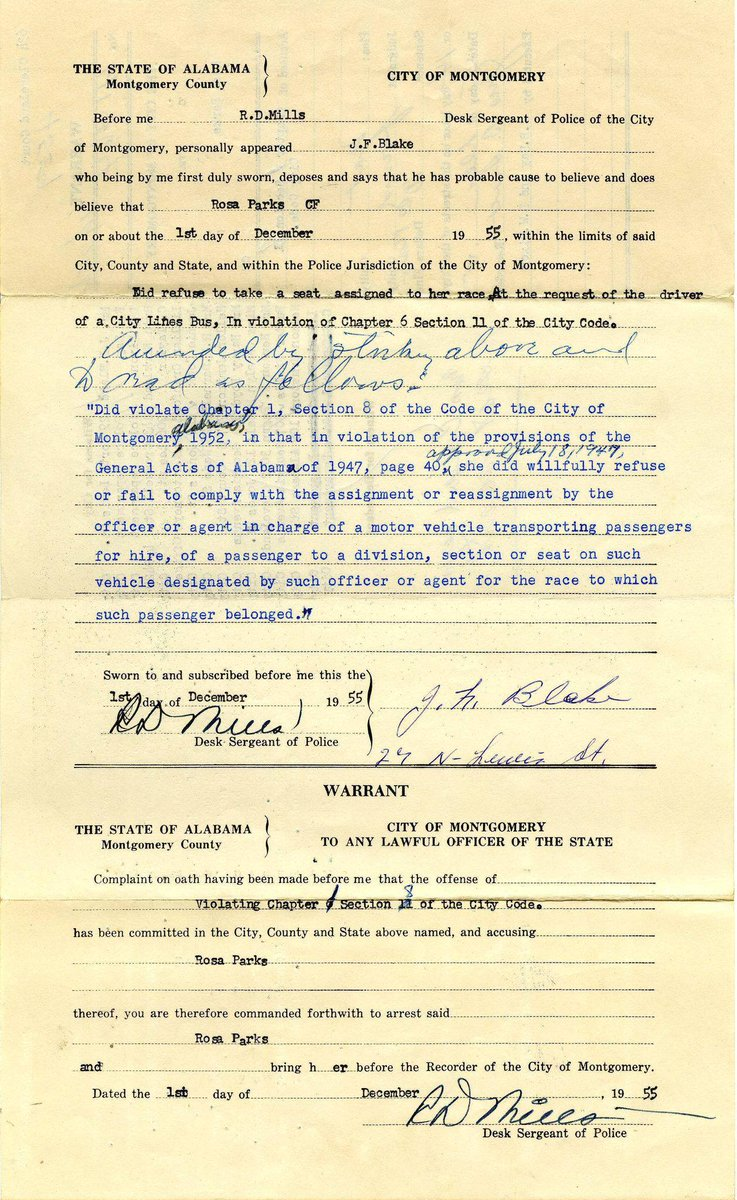 """""""Racism is still with us. But it is up to us to prepare our children for what they have to meet, and, hopefully, we shall overcome."""" —Rosa Parks   📷: The arrest warrant for Rosa Parks, 1955. (Via Alabama State University Archives) #BlackHistory #antiracism https://t.co/DJZsNTQuuO"""