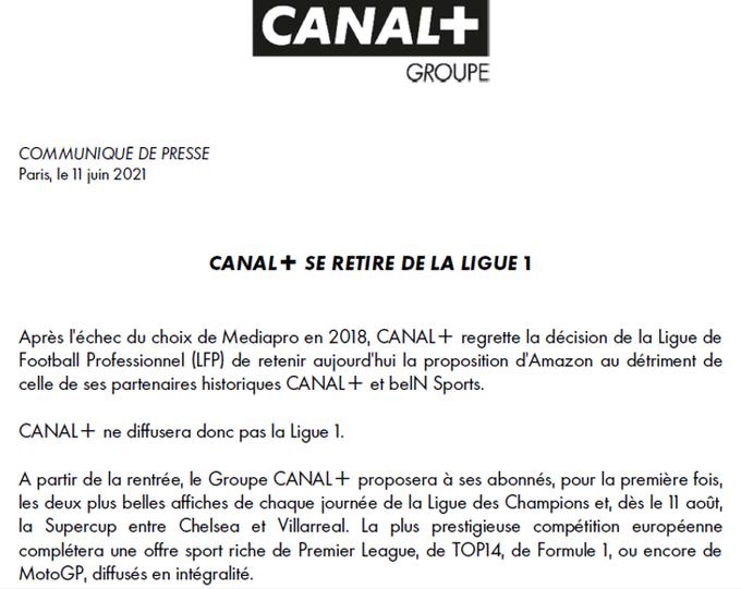 Droits TV : Canal + ne diffusera pas la Ligue 1