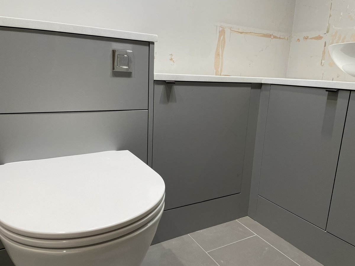 We love our made to measure @wehavebathrooms #bathroom units being used in this en-suite all ready for the plumber and tiler to work their magic. Products also from @EastbrookCo @blumuk @Karonia_Ltd @daro_UK @ThomasDudleyLtd @idealbathrooms @LDL_online
