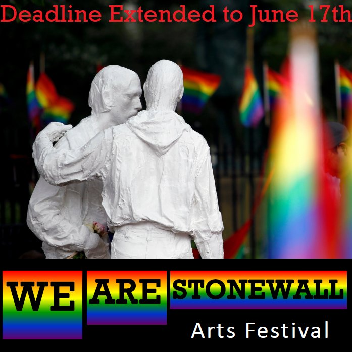 ⚠️ATTENTION⚠️ We have extended the deadline for submissions to the We Are Stonewall Arts Festival to June 17th! Please continue submitting your art until then! 🏳️🌈🏳️⚧️🎨👯📸🎭  Please visit our website at https://t.co/CWaHhE1c2G for more details   #WeAreStonewall #ArtsintheParks https://t.co/1LM5j47dkj