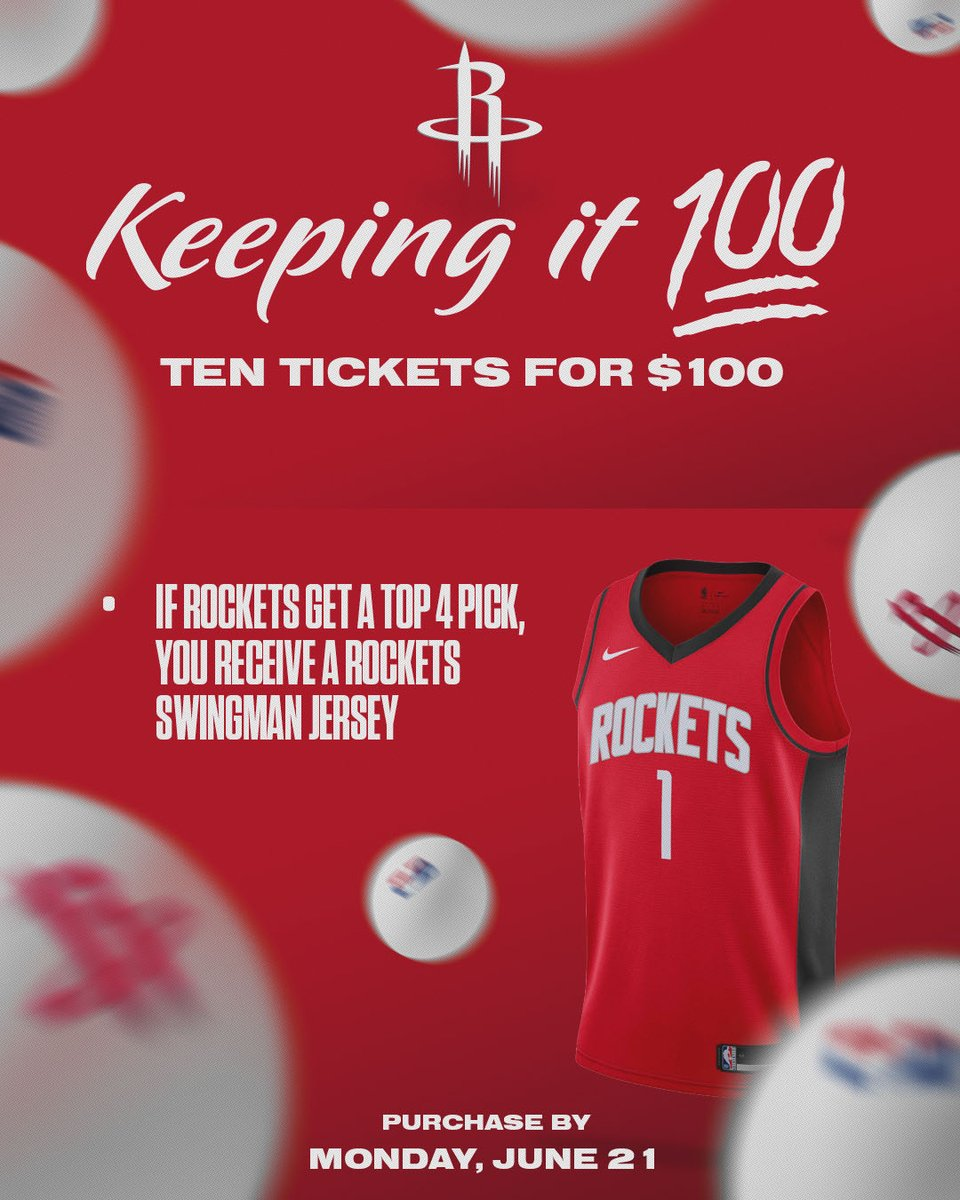 Keeping it 💯  Purchase 10 tickets for the 2021-22 season for $100!   If the #Rockets end up with a Top 4 draft pick, you'll also receive a swingman jersey!   More Info: https://t.co/HuEqcAeIlu https://t.co/vF5UM3pWUz