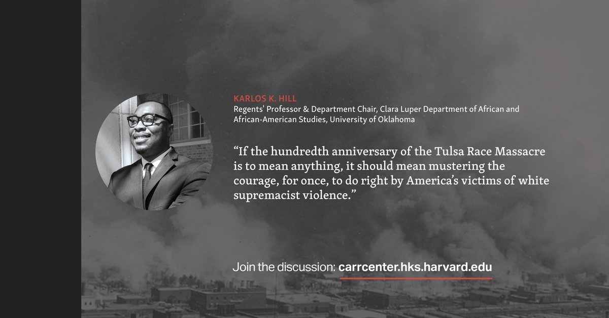 What must be done for the victims, survivors, and the descendants of those affected by the #TulsaRaceMassacre? Read our latest Q&A with @thinking4achang, @KeishaBlain, @dreisenheath, and @reginatgoodwin: https://t.co/r3O11MsGk7 https://t.co/T4nGKHpYui