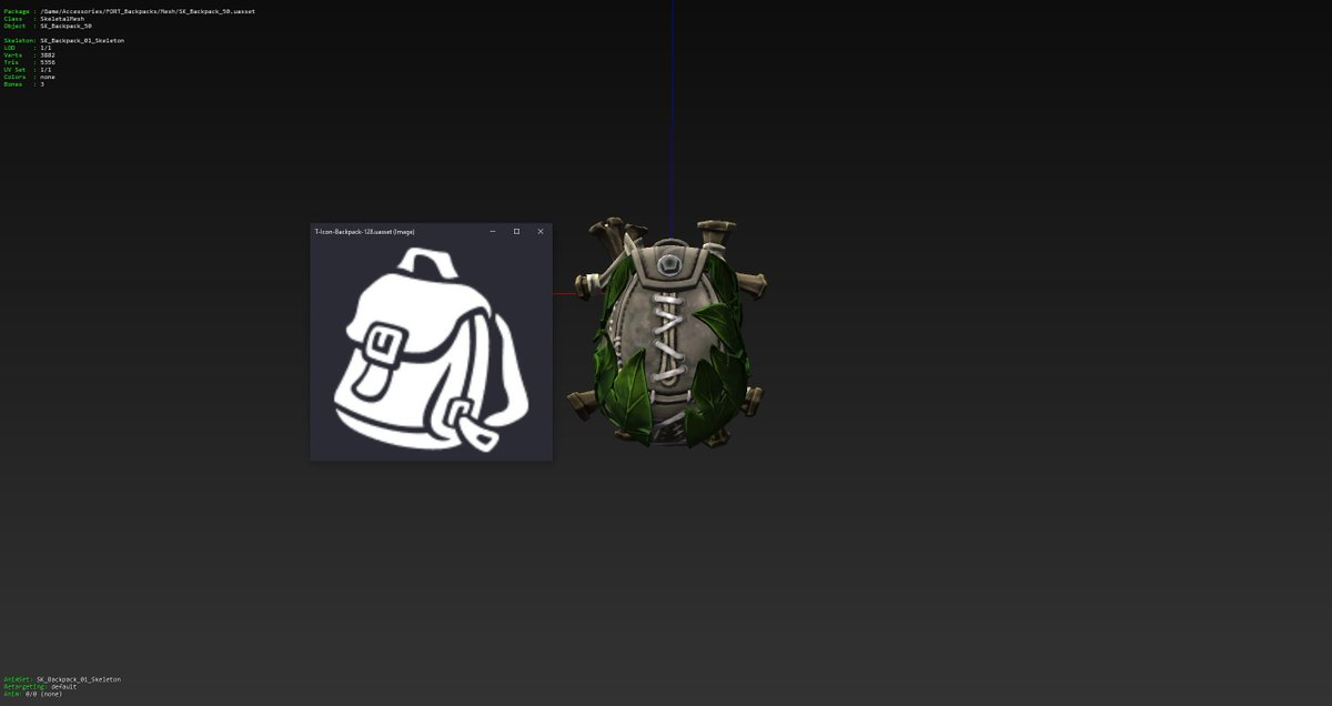 [Images show backpack model used and item icon]  - Double Jump Backpack (Top left) - Glider Pack (Top Right) - Intel Pack (Bottom Left [Text on screen reads a Windows crash message lol]) - Medic Pack (Bottom Right)  [2/3] https://t.co/4I7VADMOnu