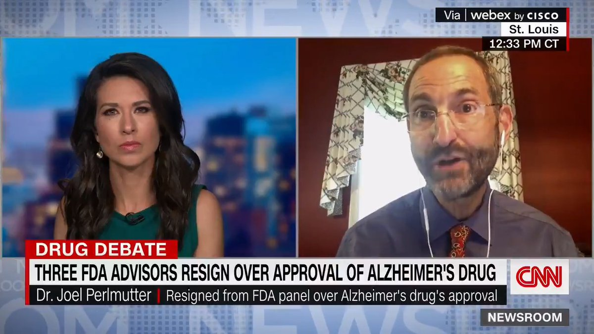 """Dr. Joel Perlmutter resigned from an FDA advisory committee over the approval of a new Alzheimer's drug. Here's why he says the FDA's decision was """"egregious."""" https://t.co/Xz84nBHPed https://t.co/00CQ5xMQMU"""