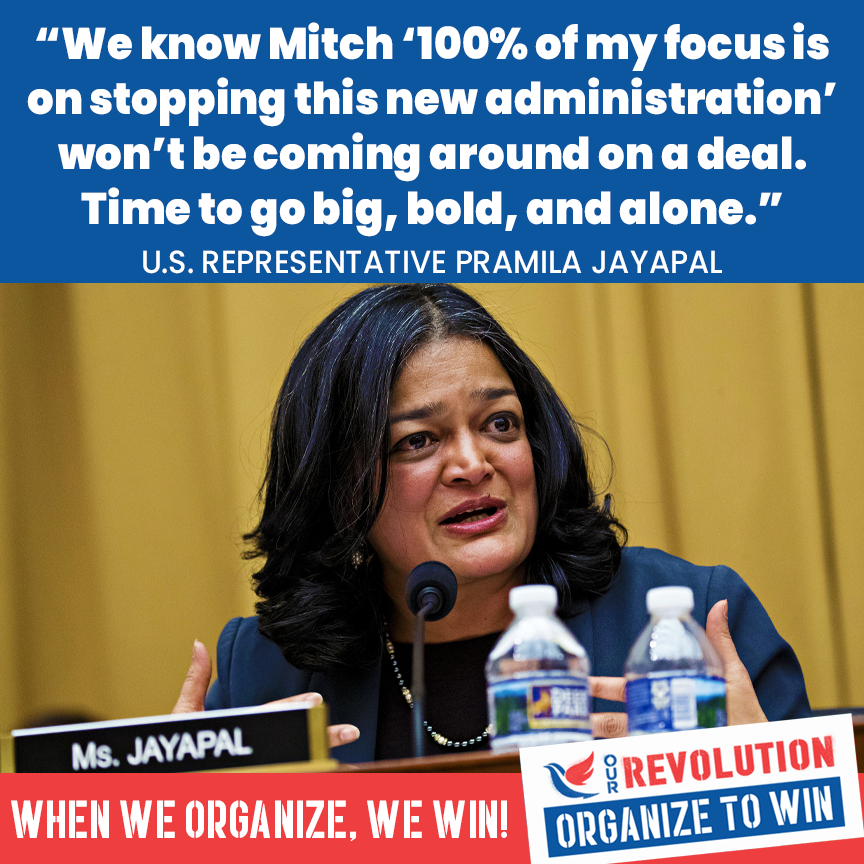 EXACTLY, @RepJayapal!! We can't wait any longer for the nonexistent bipartisanship. #BuildBackBold https://t.co/EHzLZGwFfa
